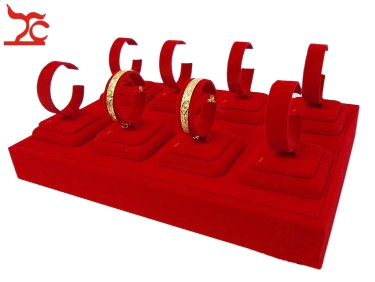 Fine Femmes Bijoux Titulaire D'affichage 8 Pièces Or Bracelet Bracelet C Col Stand Rouge Velours Plateaux 35*25*13 cm