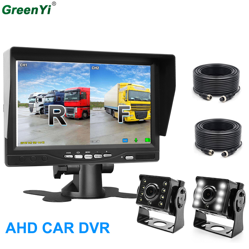 """GreenYi Recording DVR 2 Truck Rear Camera 1280*720 AHD Night Vision with 7"""" Vehicle Rear View Monitor Support SD Card-in Car Monitors from Automobiles & Motorcycles    1"""