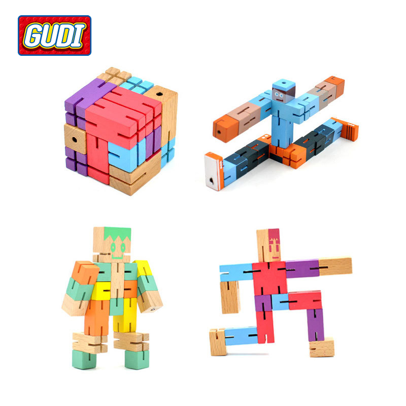 Toys For Grownups : Children s toys wooden robots could deform robot cube wood