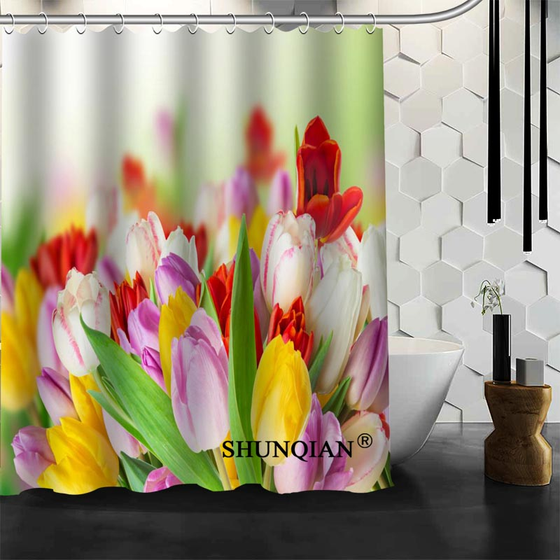 New Bathroom Curtains Tulips Shower Curtain Customized Waterproof Polyester Fabric For In From Home Garden