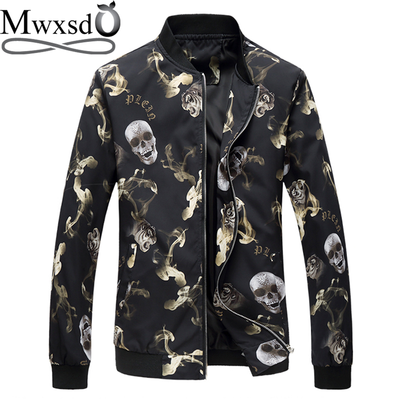 Mwxsd brand mens spring autumn casual skull printed baseball Jacket Bomber men Slim fit  ...