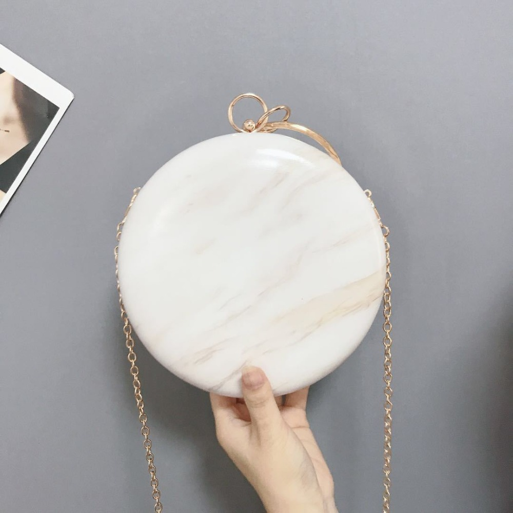 Meloke 2019 Hot Women Handmade Round Designer Evening Bag Simple PU Leather Handbag Female Clutches Chain Shoulder Bags M1141