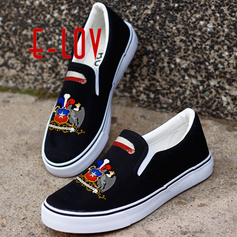 E-LOV Fashion Printed Chileans National Flag Canvas Shoes Printing Chile National Emblem Casual Flat Loafer e lov women casual walking shoes graffiti aries horoscope canvas shoe low top flat oxford shoes for couples lovers
