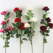 5pcs artificial long stem rose 5 heads velvet roses simulated flowers red/pink/cream/burgundy color
