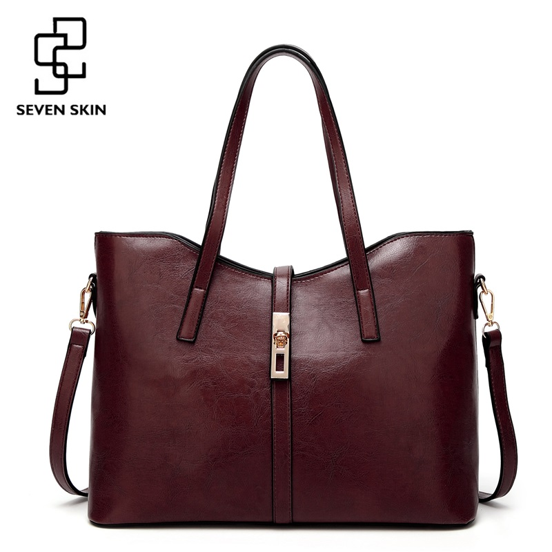 SEVEN SKIN Brand 2017 PU Leather Bag Women's Shoulder Bag Luxury Handbags Women Bags Designer Female Casual Tote Bag bolso mujer seven skin brand women oil wax leather shoulder bags vintage designer handbags female big tote bag women s messenger bags 2017
