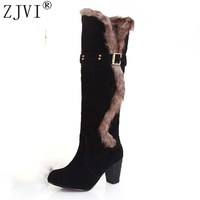 ZJVI Fashion womens knee high boots nubuck winter Women thigh high snow boots Woman fashion 2018 ladies square high heels shoes
