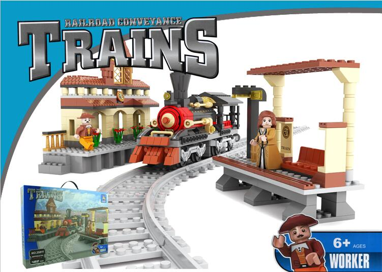 Ausini building block set compatible with lego transportation train 0014 3D Construction Brick Educational Hobbies Toys for Kids измельчители электрические russell hobbs измельчитель russell hobbs 22281 56