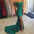 Мода зеленый sequin пром платья 2017 длинные лодка шеи тонкий высокая щелевая женщины театрализованное платье для официального партии vestidos de novia