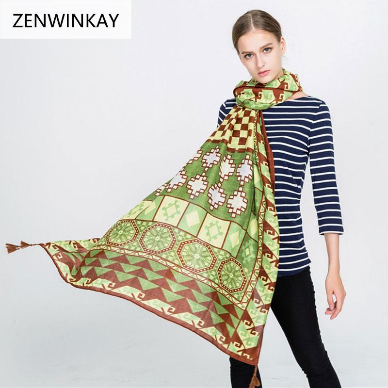 2018 Luxury Brand Women Scarf Spring Fashion Lady Cotton Linen Thin Scarves Print Soft Shawls Foulard Femme Bandana 180*95cm