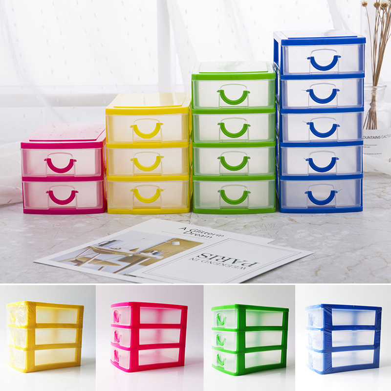 2 or 3 Layers Mini Drawer Desk Organizer Plastic Storage Boxes Containers Jewelry Cosmetics Storage Case Home decoration