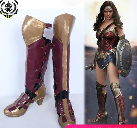 New Movie Wonder Woman Diana Prince Cosplay Boots Halloween Cosplay Shoes for Women Size
