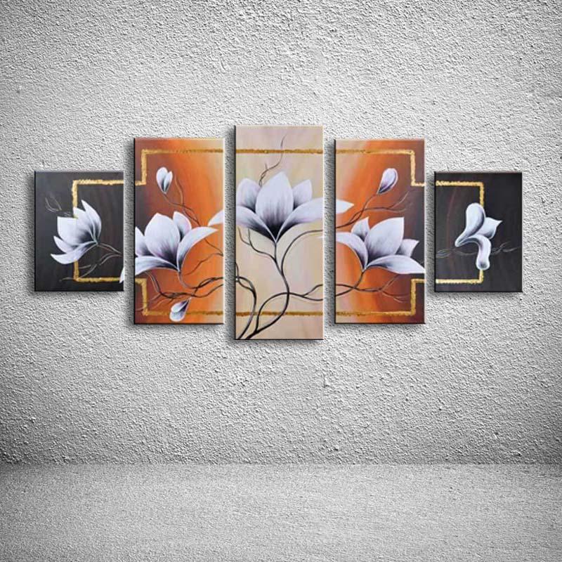 5 Панель Фотографии живопись маслом абстрактный цветок Картины на холсте ручной работы современного Домашний Декор стены Книги по искусств...
