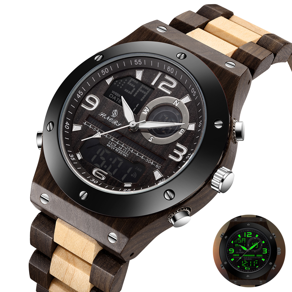 Natural Wooden Men Watches Male Dual Display Wristwatch Digital Relogio Masculino Solid Wooden Watches Mens Back Light Clock(China)