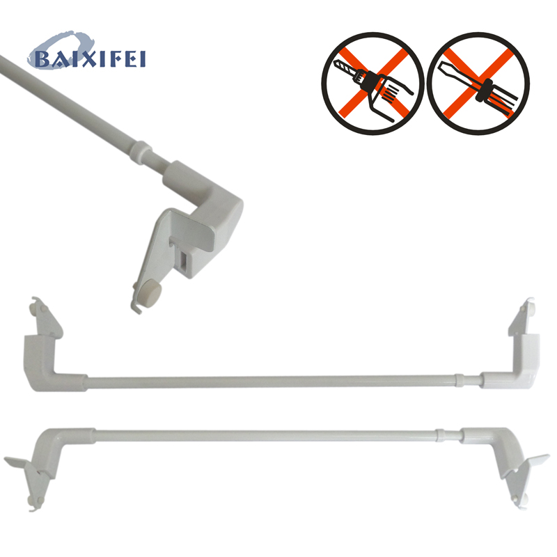2 Pcs D7mm Tension Cafe Rod ,Curtain Accessories Rod For Window Decoration