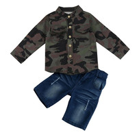 Spring Summer Autumn Boys Clothes Sets Kids Toddler Boys Handsome Camouflage T Shirt Tops Pants Clothes