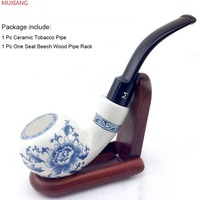 MUXIANG Bent Porcelain Tobacco Pipe with Wooden 1 Seat Pipe Rack Good Quality Ceramic Tobacco Pipe and Pipe Stand an0001/fa0020