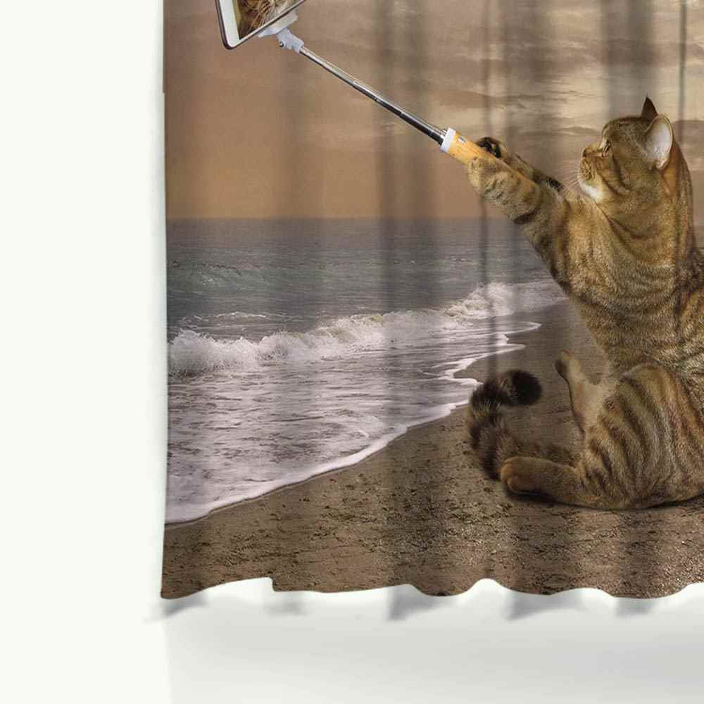 Miracille شوور لطيف القط المطبوعة شخصية الحمام ستارة الحمام للماء البوليستر النسيج مع 12 السنانير البلاستيك