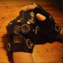 ЯПОНСКИЕ ВИНТАЖНЫЕ перчатки в стиле Харадзюку в стиле стимпанк, перчатки для костюмированной вечеринки в стиле панк, Лолита, перчатки из искусственной кожи, Готические перчатки унисекс для костюмированной вечеринки, аксессуары