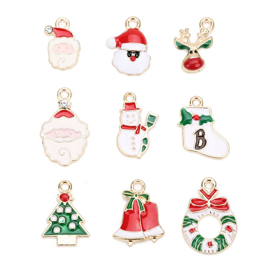 Ckysee 10Pcs/lot Tree Santa Claus Snowman Enamel Christmas Charms Pendants 11 Styles Oil Drop Floating Diy Jewelry Making