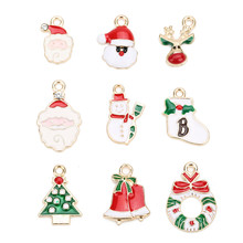 Ckysee 10Pcs/lot Tree Santa Claus Snowman Enamel Christmas Charms Pendants 11 Styles Oil Drop Floating Diy Jewelry Making