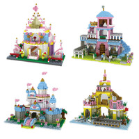 Diamond blocks Princess Cinderella Romantic Undersea Palace Girl Friends Building Blocks Bricks Toys for Children Birthday Gift