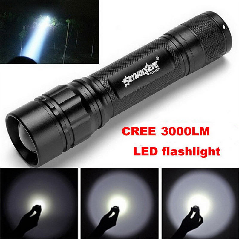 Black XM-L T6 3000 Lumens 3 Modes Led Torch Zoomable LED Flashlight Aluminum Alloy Torch Light For 1x18650 VEJ93 P0.11