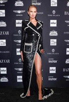Turn down Collar Sequined Slit New Style fashion Empire sexy women Full Long Dress celebrity body con party dresses wholesale