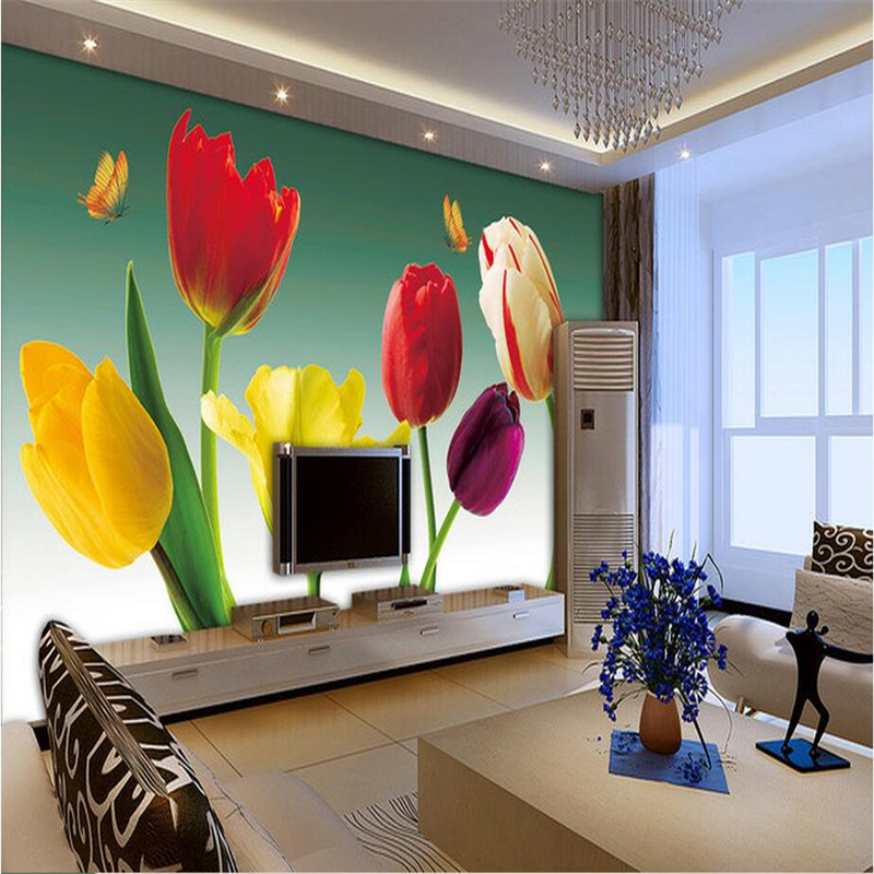 Custom Wallpaper 3d Tulip Romantic Photo Wallpapers With Flowers 3d Wall Murals TV Background Wall Mural Wallpaper Living Room custom photo wallpaper 3d wall murals balloon shell seagull wallpapers landscape murals wall paper for living room 3d wall mural