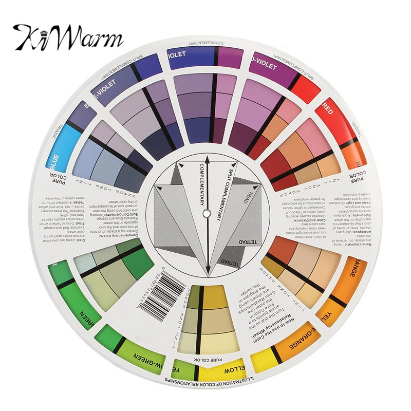 KiWarm Artists Colour Card Wheel Swatches Mixing Colour Guide 210mm Diameter Makeup Micro Pigment Ink Color Wheel Art Tool