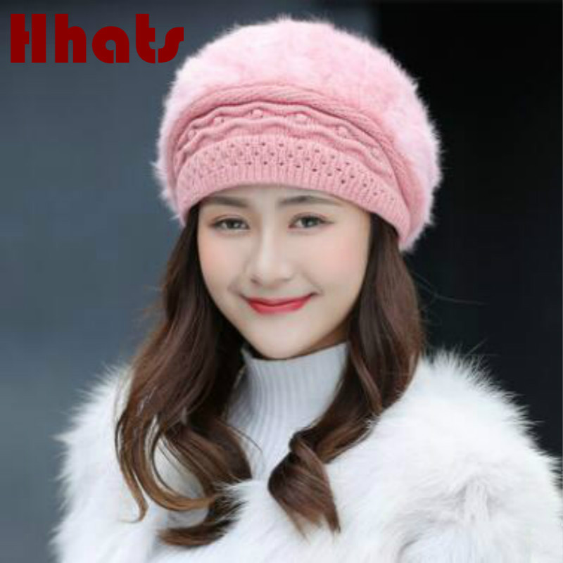 winter outdoor thick warm knitted hat solid women fleece lining   skullies     beanie   girl real rabbit fur stocking hat cap turban