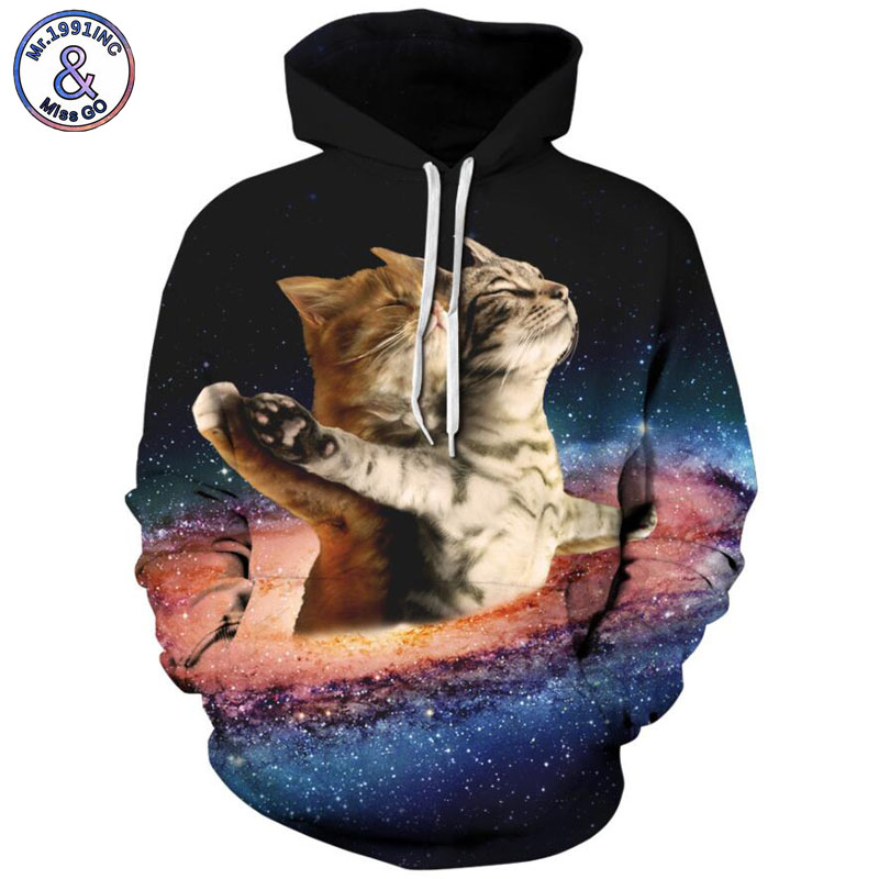Mr.1991INC Newest Style starry sky cat dog printing Casual Sweatshirts Men/women hoodie sweatshirt Hot Hooded Pullovers M252
