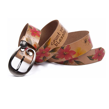 Fashion Genuine leather woman belt Pretty Floral strap for women jeans Wide Pin buckle female belts High quality second Cowskin 1