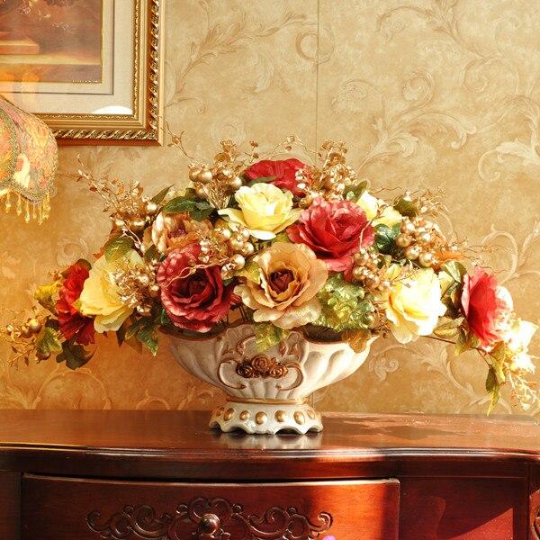 Rose mode fleur artificielle ensemble fleur artificielle rose fleur de soie entrée table à manger décoration fleur
