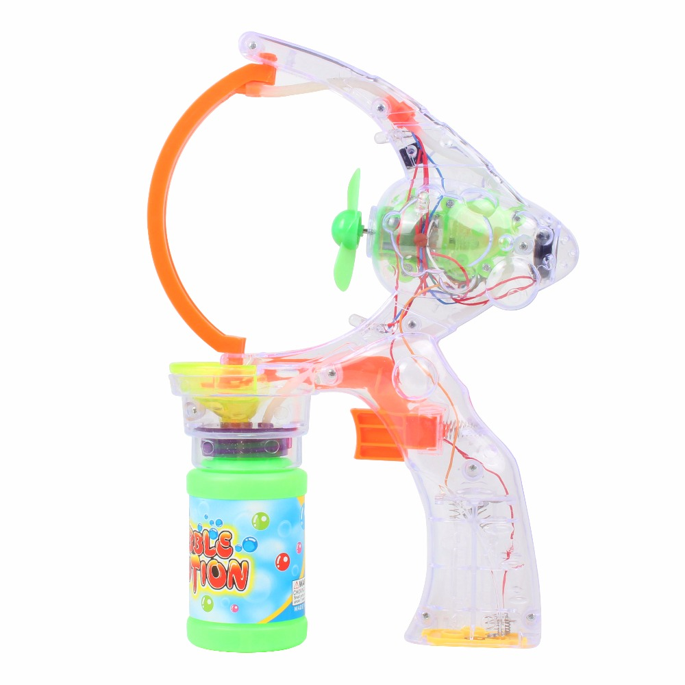 Bath Toy Supper Big 7 inch Bubble Shooter Gun Blower Machine Blaster Maker for Girls Kids Toddler Adults Flashing Sounding