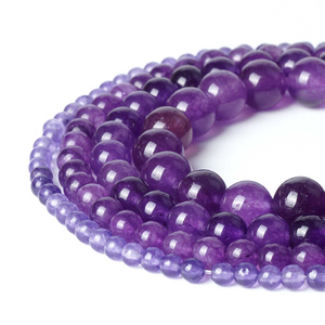 Charms Natural Beads Purple Amethyst Jade Loose Bead 4/6/8/10mm Ball Agate Gemstone Crystal Stone For Women Gifts Jewelry Making(China)