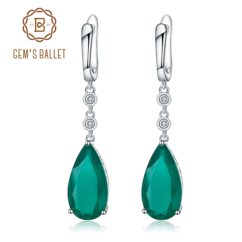 Gem's Ballet Natural Green Agate Drop Earrings 925 sterling silver Earrings For Women Fine Jewelry Gift 2017 Fashion Style