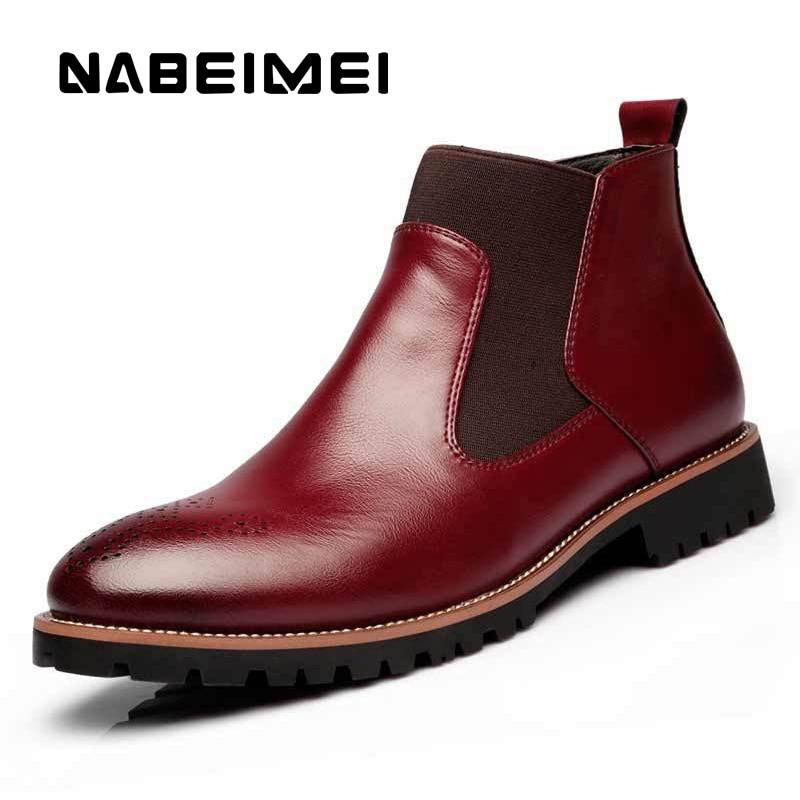 Brown Taille 46 Automne Peau light Pointu 38 Chaussures Porc Red Sculpté Grande Bottes Bottines Masculina Black Respirant Bota Marque Creux Martin Homme wine De Bout bD9IH2WeEY