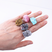 1pc geode natural quartz stone agates cluster crystal ring adjustable rings finger joint