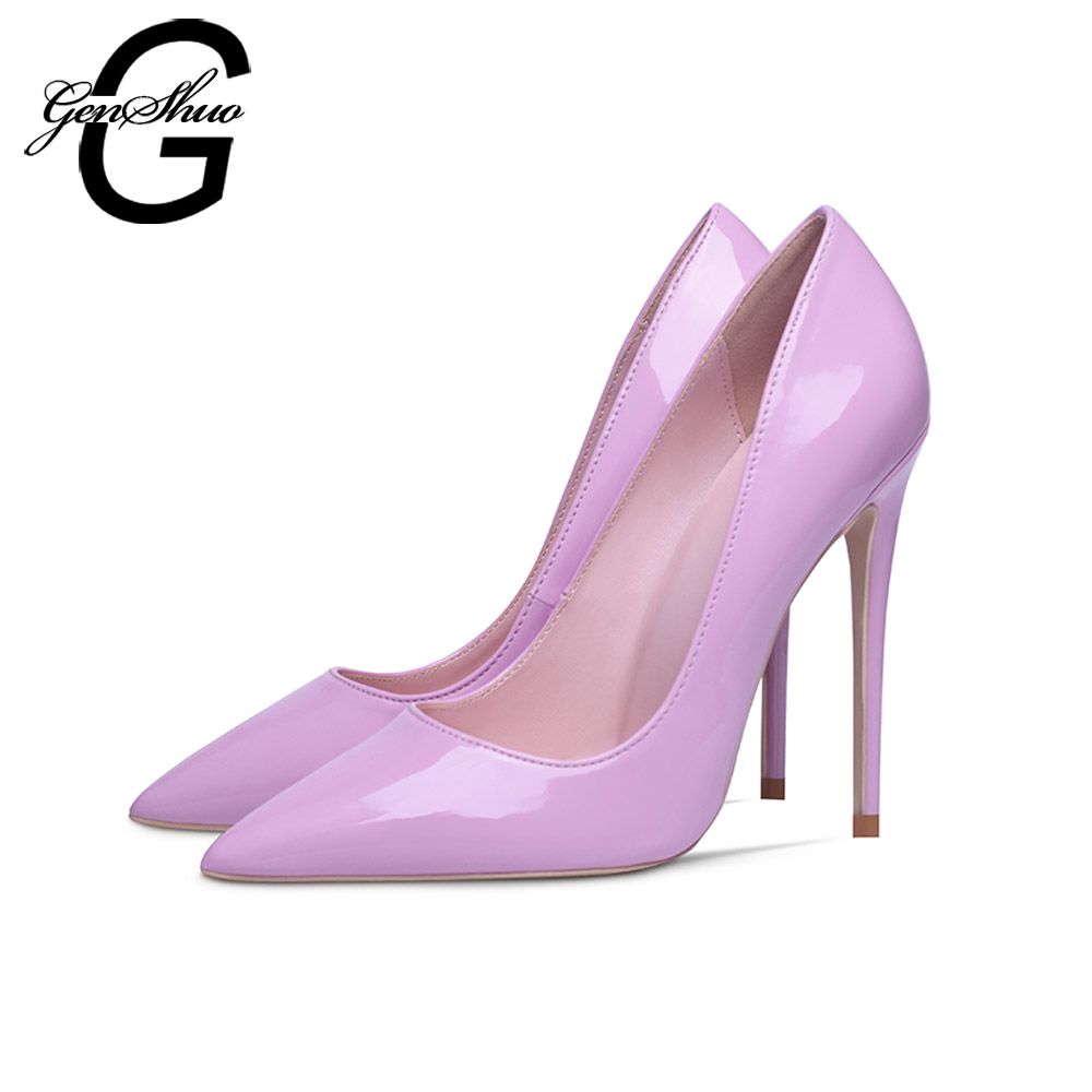 GENSHUO Brand Shoes Woman High Heels Pumps Pink High Heels 8 10 12CM Women Shoes High Heels Wedding Shoes PumpsGENSHUO Brand Shoes Woman High Heels Pumps Pink High Heels 8 10 12CM Women Shoes High Heels Wedding Shoes Pumps