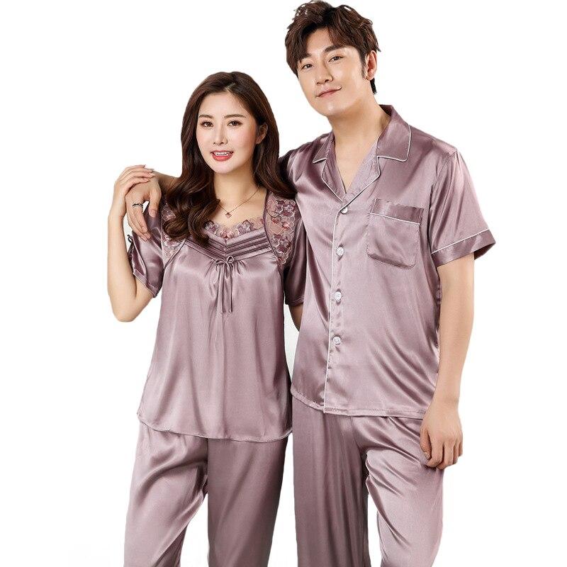 Summer Couple Short Sleeve 2 PCS Sleepwear Home Wear Silk Nightgown Satin Pajamas Set NEW Lovers Nightwear Plus SizeM-3XL