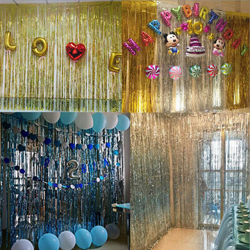 Kids Party Toys Hat Accessory Gold Foil Fringe Curtain Tinsel String Shiny Wedding Stage Birthday Party Toys For Children