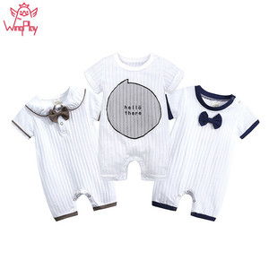 2019 Baby Boy Romper Cotton Summer Baby Rompers Short Sleeve Newborn Baby Boy Rompers Infant Baby Boy Girl Clothes(China)