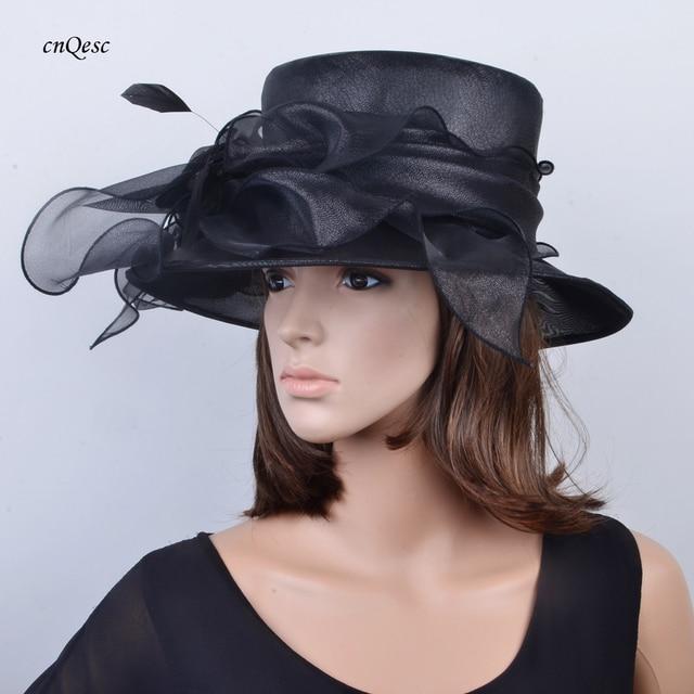 Nero organza cappello sinamay hat cappello abito formale fascinator nuziale  per la cerimonia nuziale 2c2687e5b37b