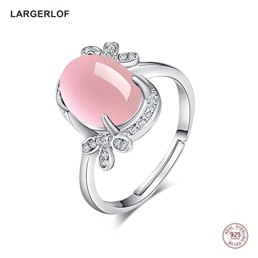 LARGERLOF Women 925 Sterling Silver Ring Fine Jewelry Rose Quartz Rings For Women 925 Silver Jewelry RG47009