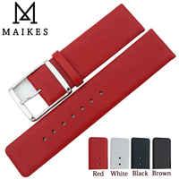 MAIKES Neue Mode Aus Echtem Leder Uhr Band Strap Whit Edelstahl Schnalle Rot Dünne Uhrenarmbänder Für CK Calvin klein