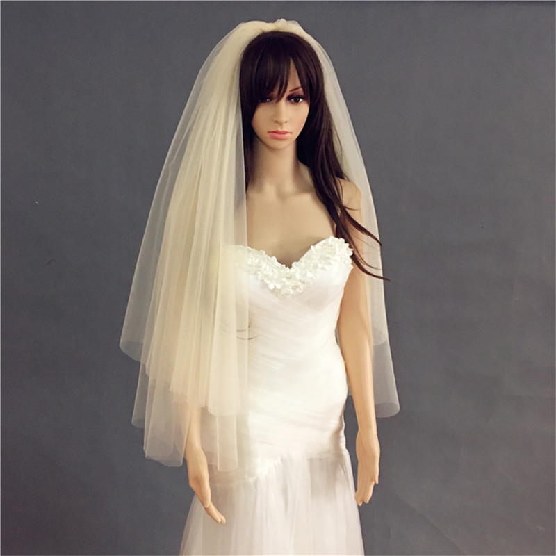 Champagne Cut Edge Bridal Veil 2 Layer Simple Wedding Veil