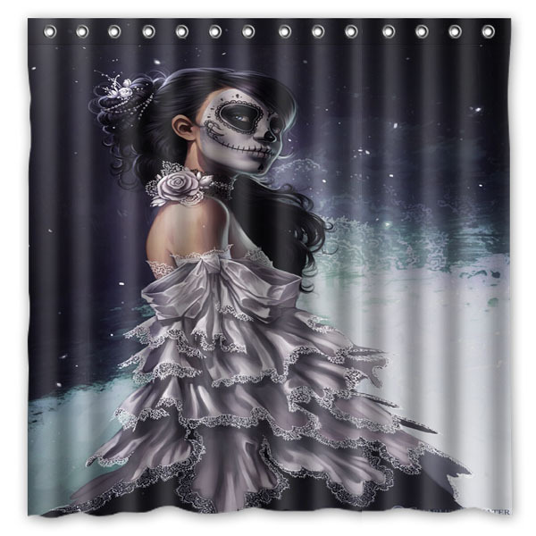 Day Of The Dead Sugar Skull Make Up Printed Waterproof Polyester Bath Shower