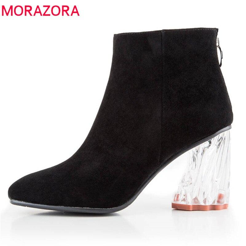 Morazora Superior Simple Cremallera Sólidos Alto De Moda Negro púrpura Mujer 2018 Cuero Zapatos Botas Tacón Gamuza Calidad Colores rtwxgrzq8