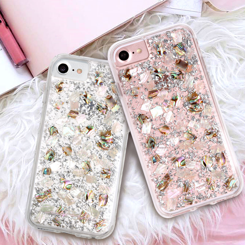 For Iphone Xs Max Xr X Karat Shell Pearl Rose Gold Glitter Soft Case