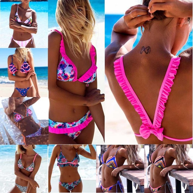 7df6564503 Sexy Swimwear Women Ruffle Bikini Set Triangle Bathing Suit Floral Print  Swimming Suit Ruched Swim Suit Maillot De Bain Swimsuit-in Bikinis Set from  ...